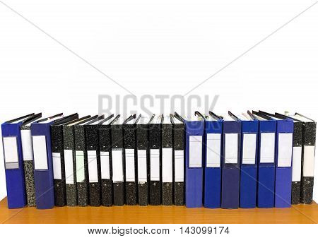 Office files in a row isolated in white backgroung