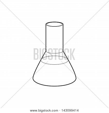 Laboratory flask icon in outline style isolated on white background. Experiment symbol