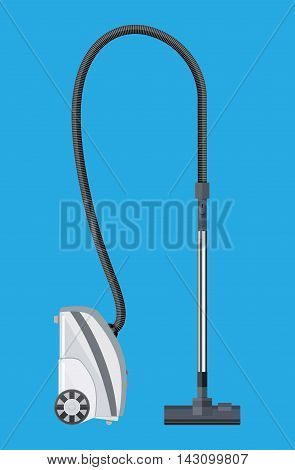 White modern vacuum cleaner. vector illustration in flat style on blue background