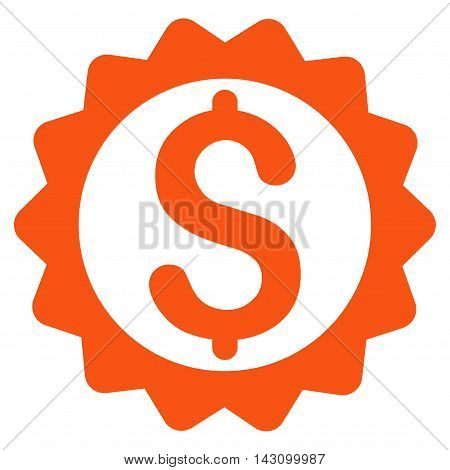 Financial Seal icon. Vector style is flat iconic symbol with rounded angles, orange color, white background.