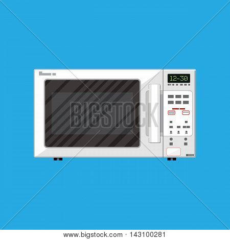 White modern closed microwave oven. vector illustration in flat style on blue background.