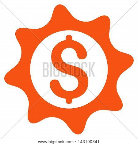 Money Seal icon. Vector style is flat iconic symbol with rounded angles, orange color, white background.