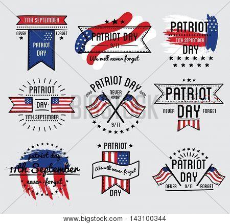 Patriot day vector set. September 11. 911. Vector Illustration.