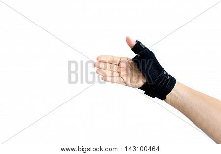 Hand with wrist support isolated on white background