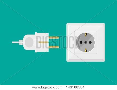 Electric white socket and plug on green background. vector illustration in flat design