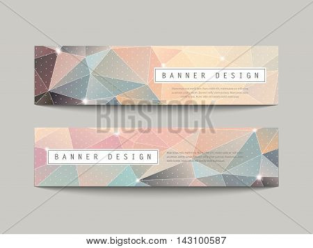 Charming Geometric Poly Style Banners Set