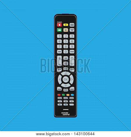 Black modern remote TV Control. Vector illustration in flat style on blue background