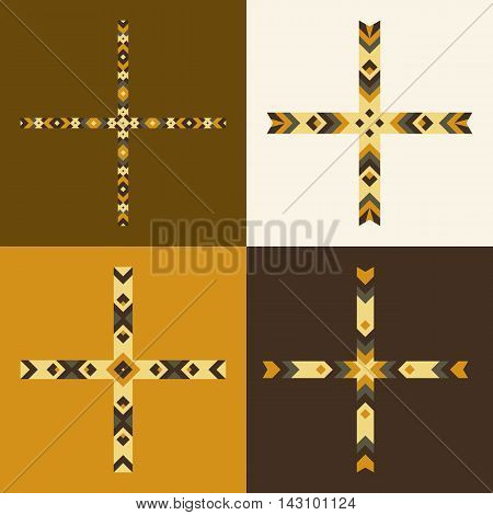 Vector Emblem Design Templates And Patterns. Abstract Decorative Icons. Set Of Creative Crosses In B