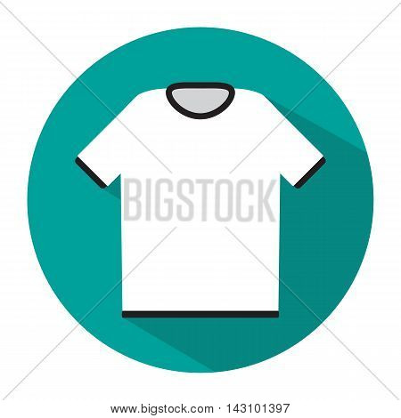 Simple white tshirt icon with long shadow, vector illustration in flat style