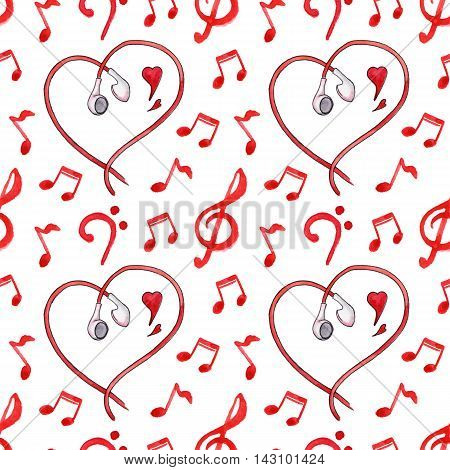 Red notes earphones hearts love music seamless pattern