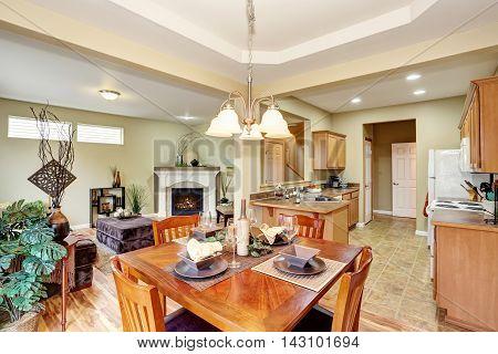 Open Floor Plan. Kitchen Room Connected To Living Room.