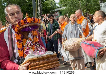 Moscow Russia - August 14 2016: Independence Day of India Celebration. Ratha Yatra. Harinam sankirtana. Radha Krishna Deities.