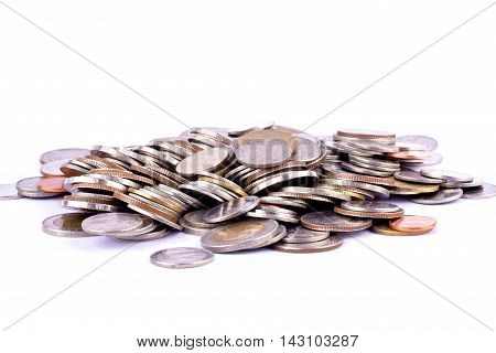 money pile of bath coins on white background finance business isolated