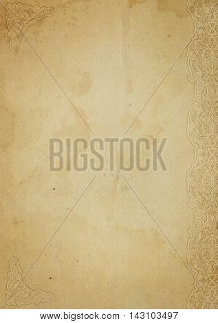 Old stained paper background with decorative ornamental bordercorners and copy space for the text. Vintage paper texture with decorative elements.