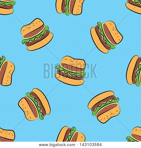 Fast food seamless pattern.Cheeseburger.For takeaway or fast food cafe design. Vector