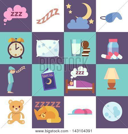 Sleep time vector flat icons. Night rest symbols illustration