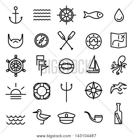 Nautical, marine and sea line icons set with anchor. Vector illustration