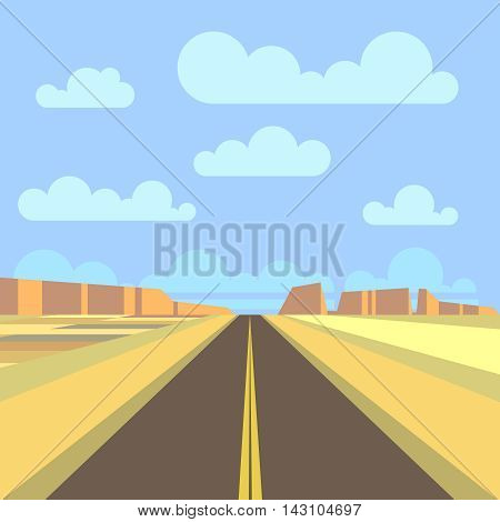 Road, highway and mountain landscape background. Desert prairie road panorama. Vector flat illustration