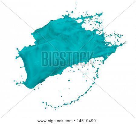 turquoise paint splash isolated on white background