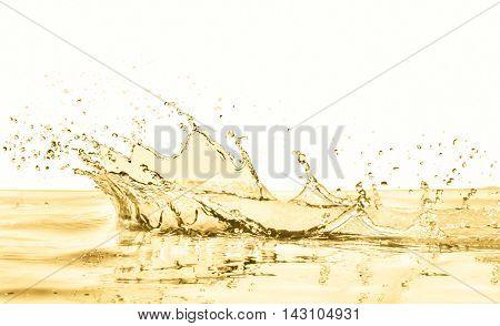 white wine splashing on white background