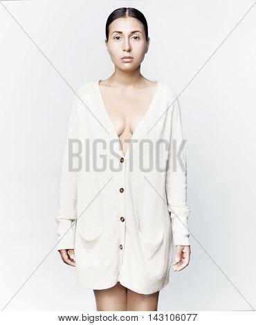 Fashion Art Studio Photo Of Elegant Lady In Beige Cardigan