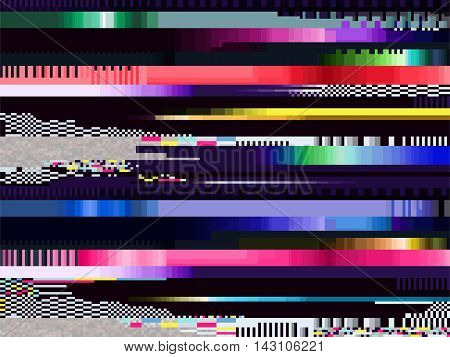 Glitch background. Computer screen error. Digital pixel noise abstract design. Television signal fail. Data decay. Technic problem grunge wallpaper.
