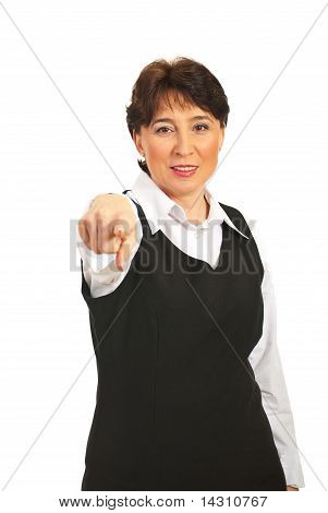 Mature Woman Pointing Forward
