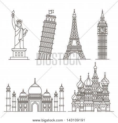 Set of landmark line icons. Vector illustration