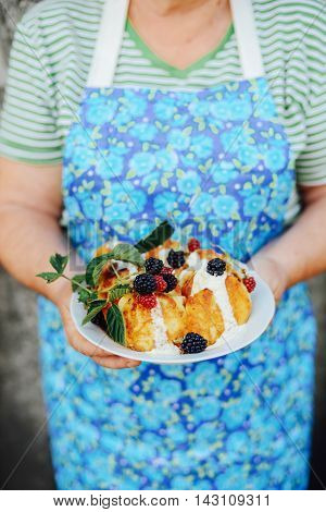 Pancakes With Bluberries. Homemade Pancakes With Fruit. Deliciou