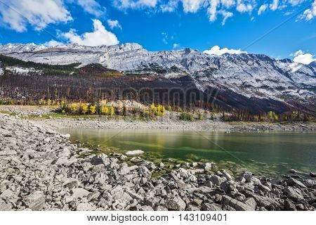 Strong shoaling Medicine Lake in the fall. Jasper National Park, Canada