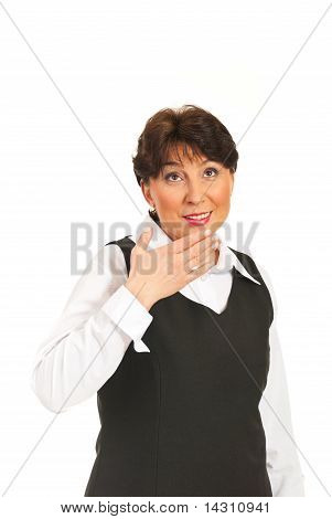 Surprised Mature Woman Looking Up