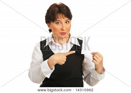 Mature Woman Pointing To Blank Card