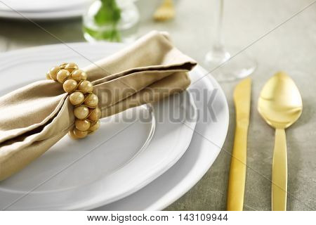 Beautiful table setting for dinner