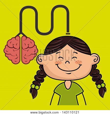 girl kid brain cable idea vector illustration graphic
