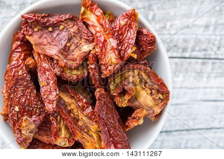 Healthy dried red tomatoes. Top view.
