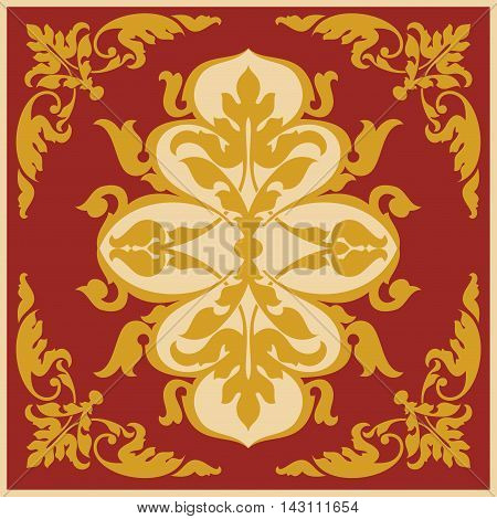 Asian style frame. Oriental background. Gold ornament on a red background. EPS 10.