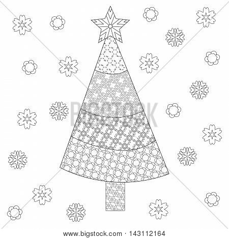 Decorative ornamental Christmas tree with artistic snowflakes and star. Zentangle design. Coloring book page for adult anti stress coloring and other decoration. New year illustration.