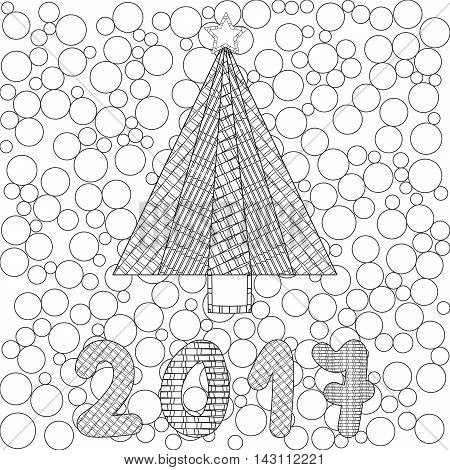 Decorative ornamental Christmas tree with artistic star. Zentangle design. Coloring book page for adult anti stress coloring and other decoration. 2017 New year illustration.