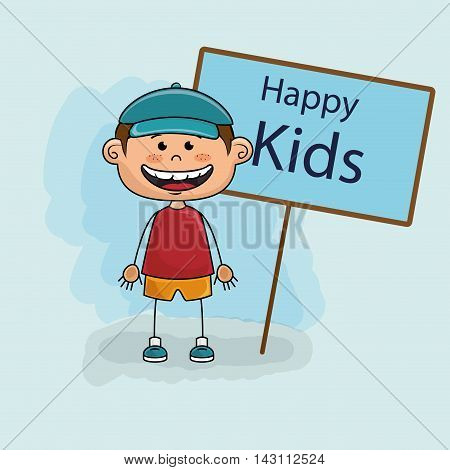 boy kids happy poster vector illustration graphic