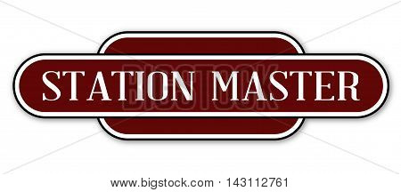 A station master station name plate over a white background