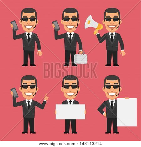 Vector Illustration, Security Guard Holds Phone Megaphone Paper, Format EPS 8