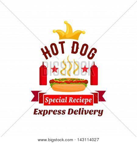 Fast food xpress delivery emblem. hot dog label element with ketchup bottles, golden crown, stars, red ribbon.
