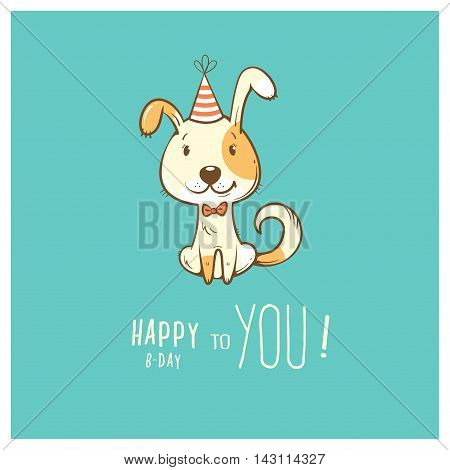 Birthday card  with cute cartoon dog in  party hat. Vector contour image. Little puppy. Funny animal.