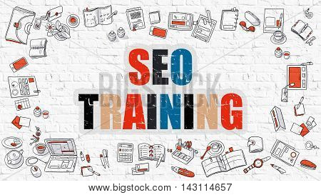 SEO Training. Multicolor Inscription on White Brick Wall with Doodle Icons Around. Modern Style Illustration with Doodle Design Icons.