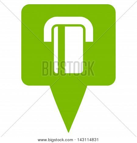 Bank Terminal Map Pointer icon. Vector style is flat iconic symbol with rounded angles, eco green color, white background.
