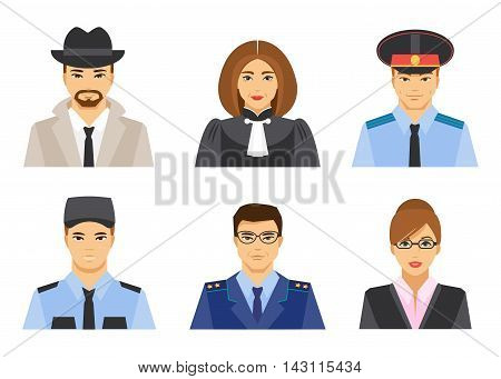 Collection of the legal profession on a white background
