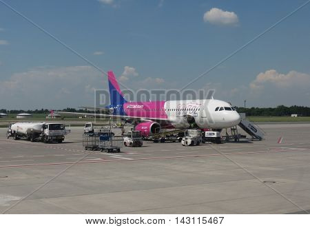 PRAGUE CZECH REPUBLIC - CIRCA JUNE 2016: Wizzair Airbus A320-200 parked at the airport