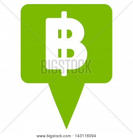 Thai Baht Map Pointer icon. Vector style is flat iconic symbol with rounded angles, eco green color, white background.