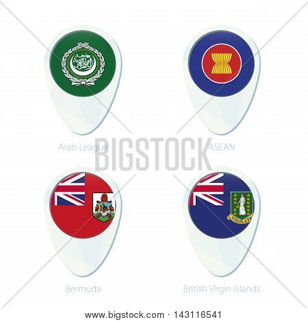 Arab League, Asean, Bermuda, British Virgin Islands Flag Location Map Pin Icon.