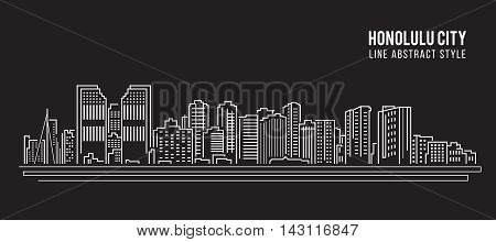 Cityscape Building Line art Vector Illustration design - Honolulu city